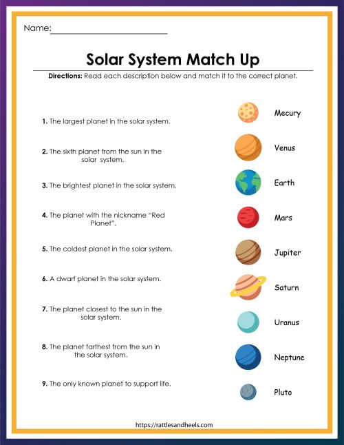 small resolution of Solar System Worksheet Kids   Printable Worksheets and Activities for  Teachers
