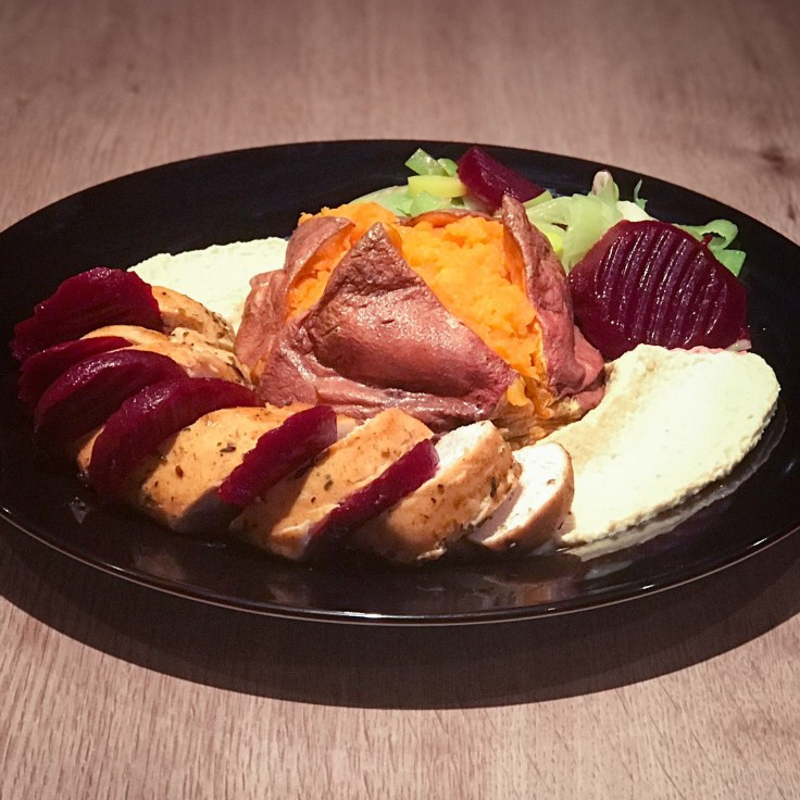 Main - Roast Chicken, Sweet Potato Jacket, Hummus, Pickled Beetroot and Leeks