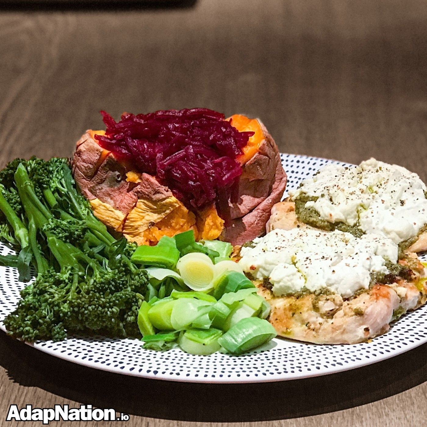 Chicken topped with Goats Cheese & Pesto and Sweet Potato Jacket