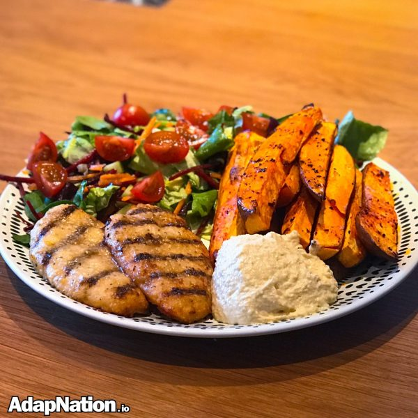 Chicken Salad and Sweet Potato Wedges