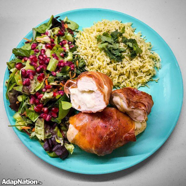 Prosciutto & Mozzarella Chicken, Pesto Rice & Pomegranate Salad