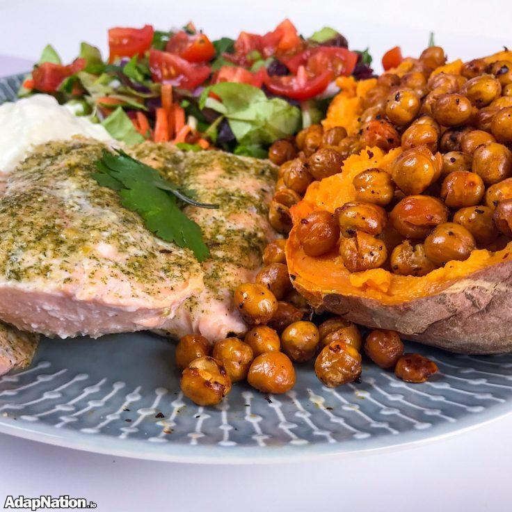 Salmon, Roasted Chickpeas, Jacket % Salad