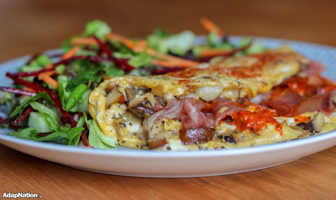 Fiery Parma Ham & Mushroom Omelette With A Light Salad