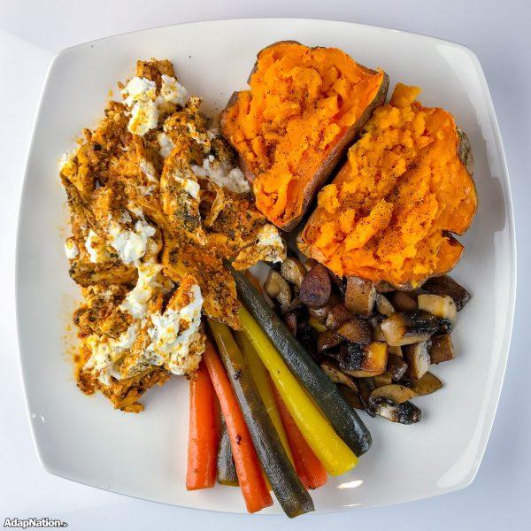 Sun Dried Pesto Chicken, Rainbow Carrots & Jacket Potato