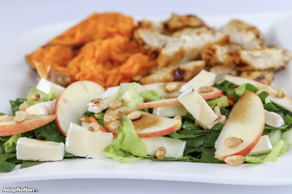 Chicken, Apple & Brie Salad with Sweet Potato Jacket