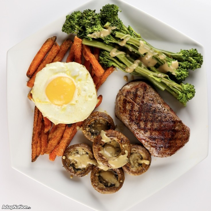 Fillet Steak, Fried Egg, Sweet Potato Fries & Veg