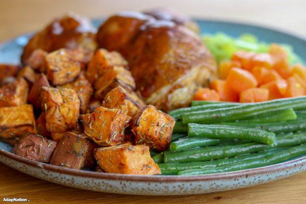 Chicken Thighs & Mini Sweet Potato Roasties