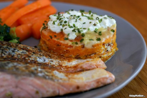 Sweet Potato Dauphinoise, Pan-Fried Salmon & Veg