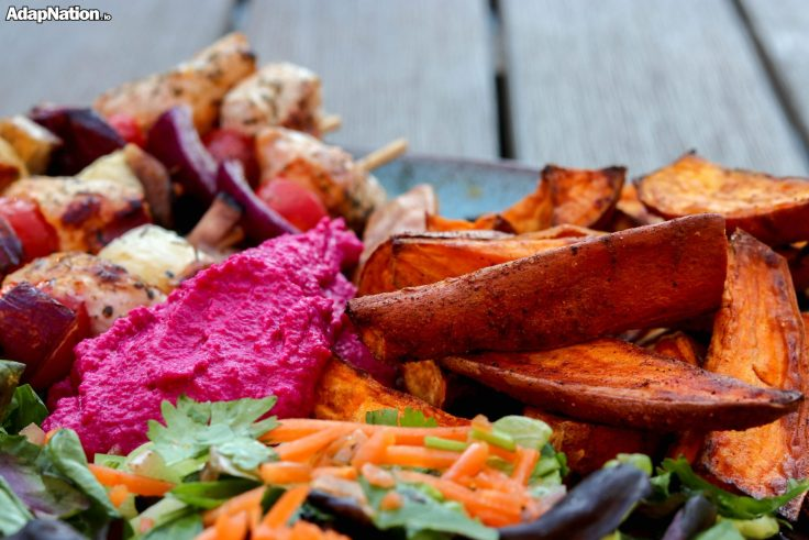 Chicken & Halloumi Skewers, with SP Wedges & Beetroot Hummus p3