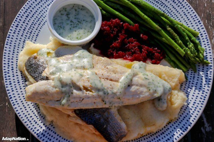 Sea Bass, Celeriac Mash, Asparagus & Beetroot Puree p3