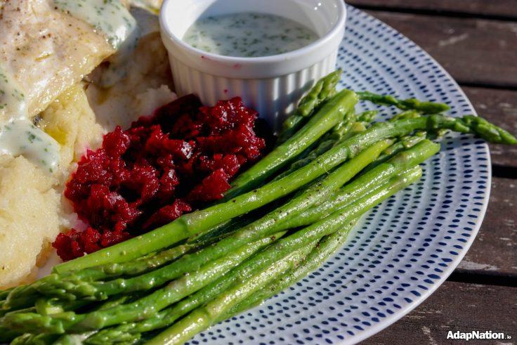 Sea Bass, Celeriac Mash, Asparagus & Beetroot Puree p2