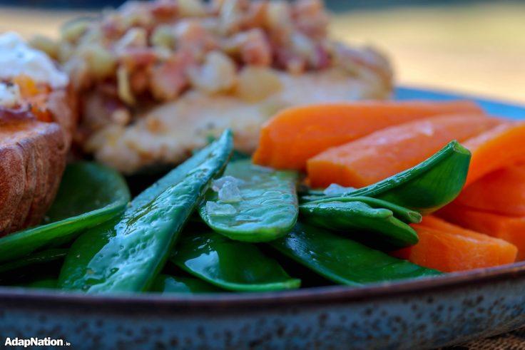 Pancetta Topped Chicken, Loaded Sweet Potatoes & Crunchy Veg p3