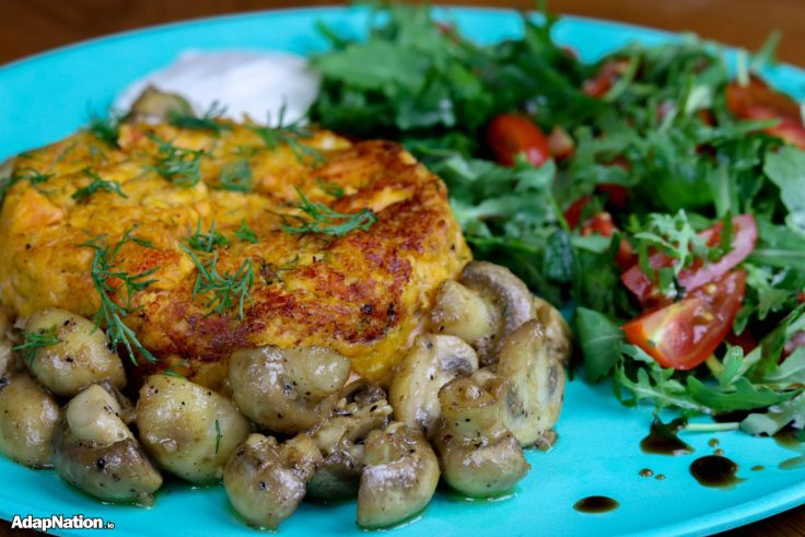 Juicy Sweet Potato Salmon Fishcake, Button Mushrooms & Rocket Salad p2
