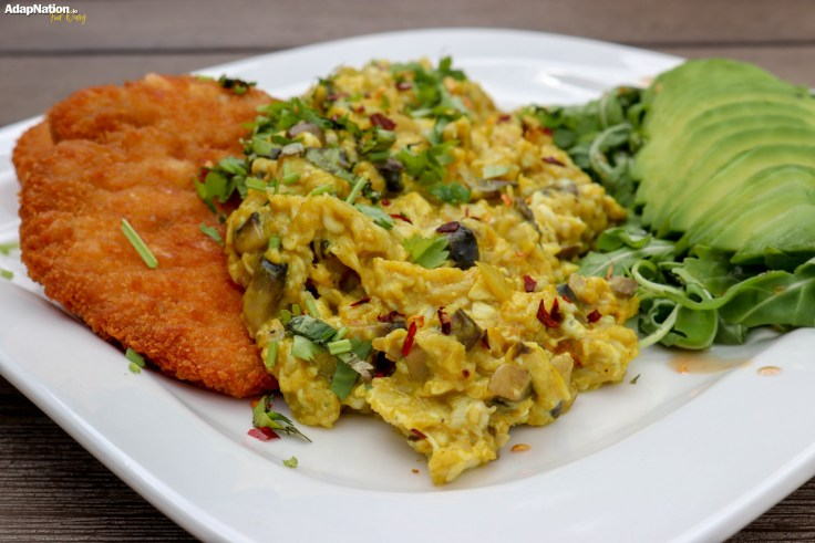 Eggs-A-La-Michelle, with Chicken Schnitzel, Avo and Rocket Salad p3