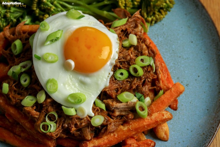 Barbecue Pulled Pork, Egg, Sweet Potato Fries and Broccolini p4