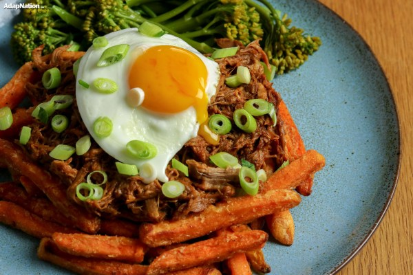 Barbecue Pulled Pork, Egg, Sweet Potato Fries and Broccolini