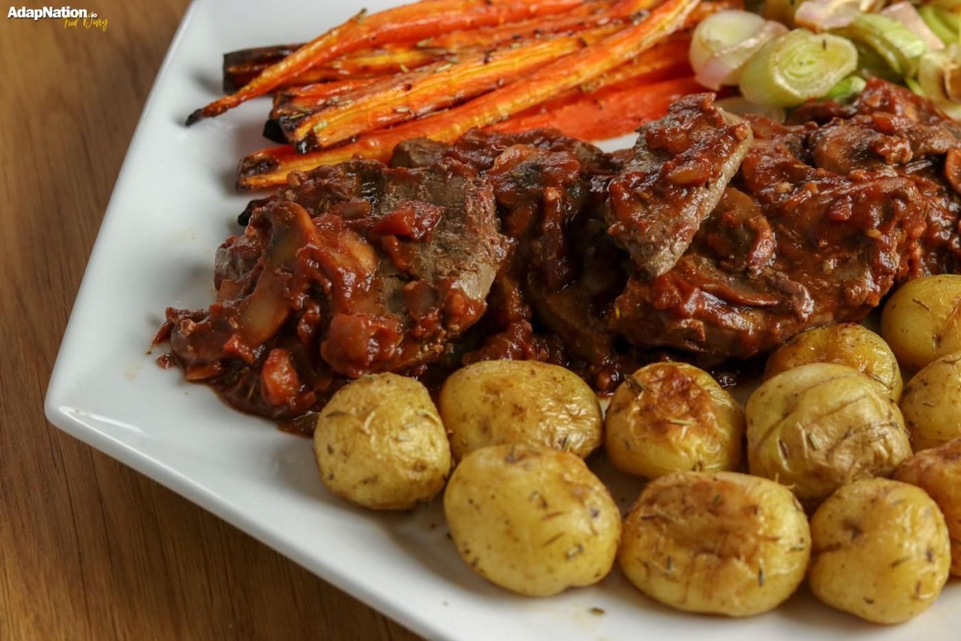 Lambs Liver in Tomato & Mushroom Sauce, with Sweet & Crispy Veg