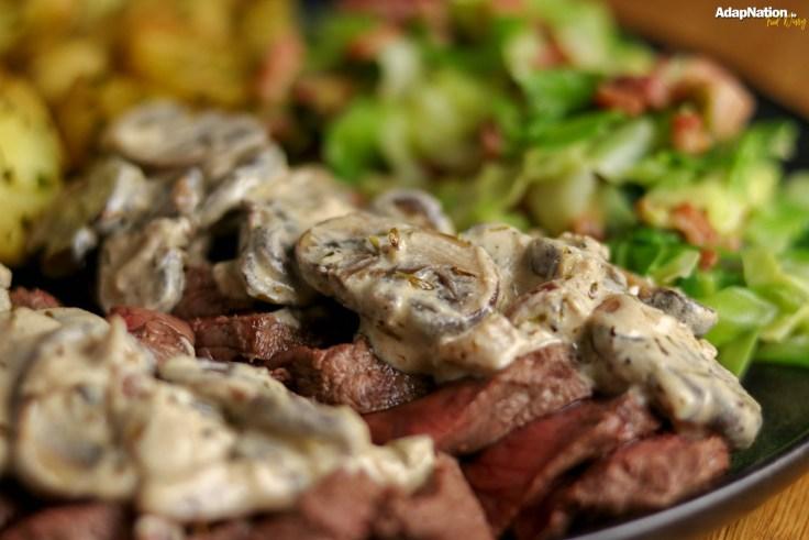 Zurich-Style Venison, Creamy Cabbage & Lardons and Crisped New Potatoes p2