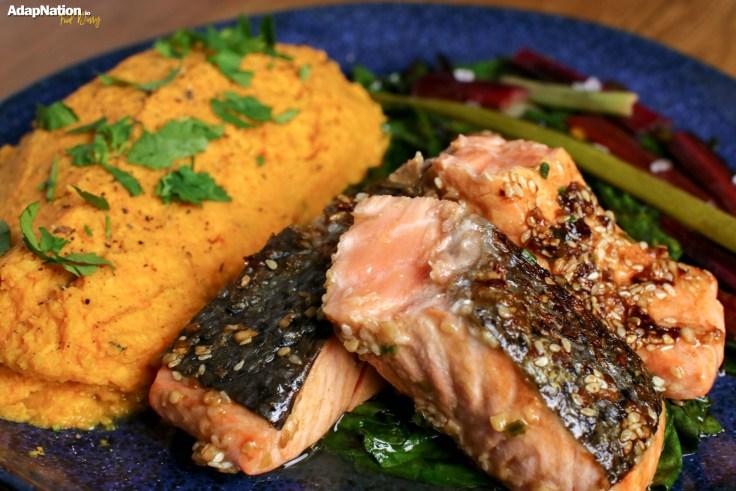 Asian Salmon with Rainbow Chard & Sweet Potato Mash p4