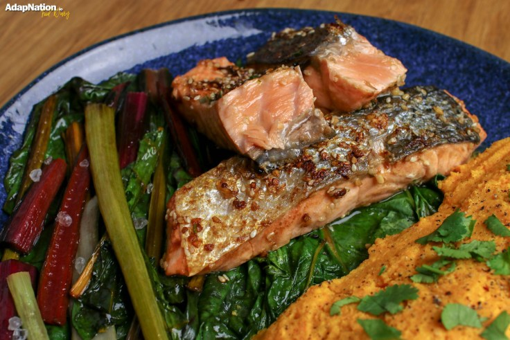 Asian Salmon with Rainbow Chard & Sweet Potato Mash p2