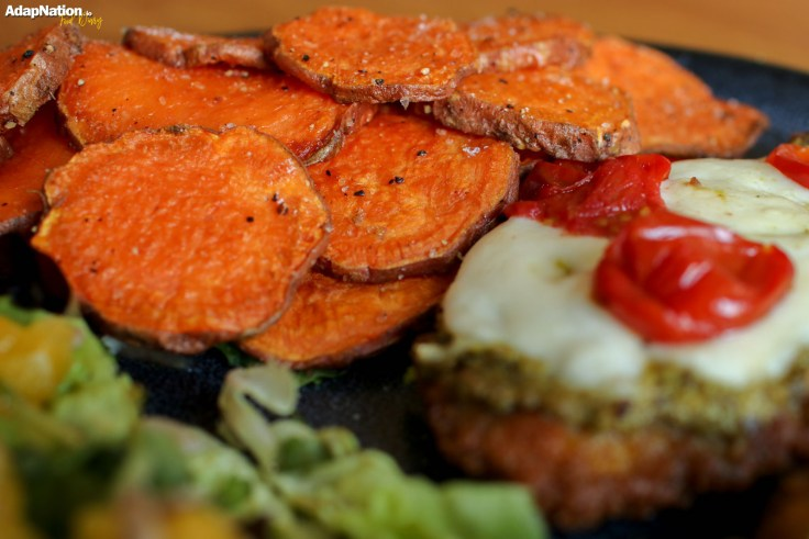 Mozzarella Chicken with Zesty Orange Salad & Sweet Potato Crisps p2