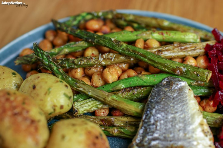 Pan Fried Sea Bass, with Spicy Chickpeas & Asparagus, Smoky Beetroot & Buttery New Potatoes p2