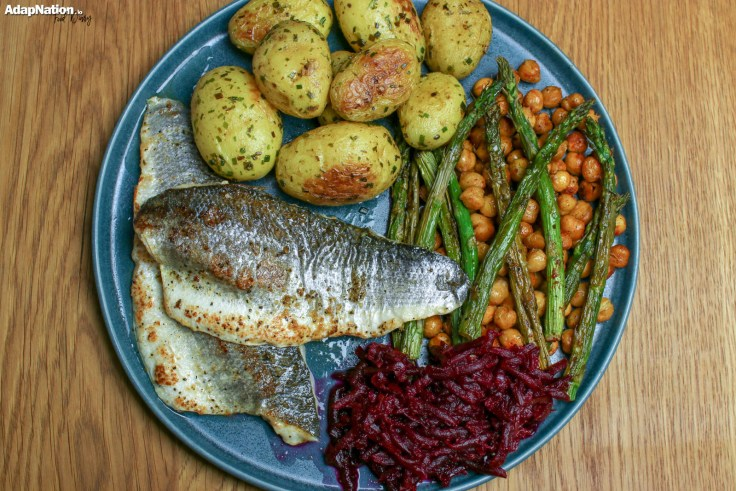 Pan Fried Sea Bass, with Spicy Chickpeas & Asparagus, Smoky Beetroot & Buttery New Potatoes p3