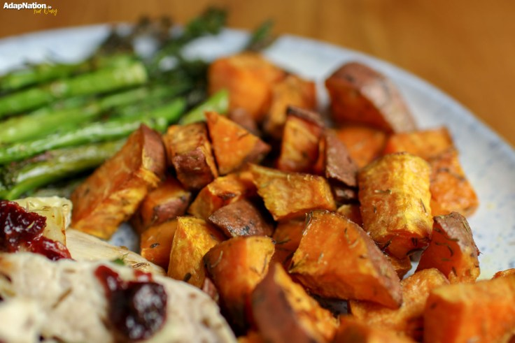 Brie & Cranberry Chicken with Sweet Potato Roasties & Toasted Green Veg p3