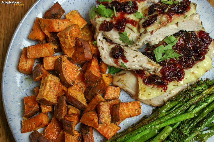 Brie & Cranberry Chicken with Sweet Potato Roasties & Toasted Green Veg p2