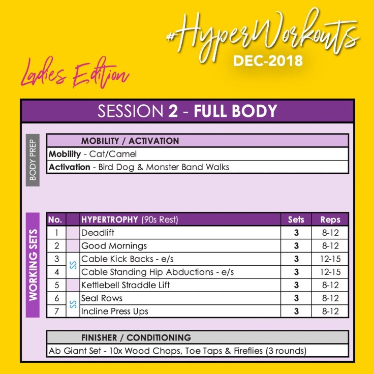 Ladies DEC-1 #HyperWorkouts Training Programme Day 2 Full Body