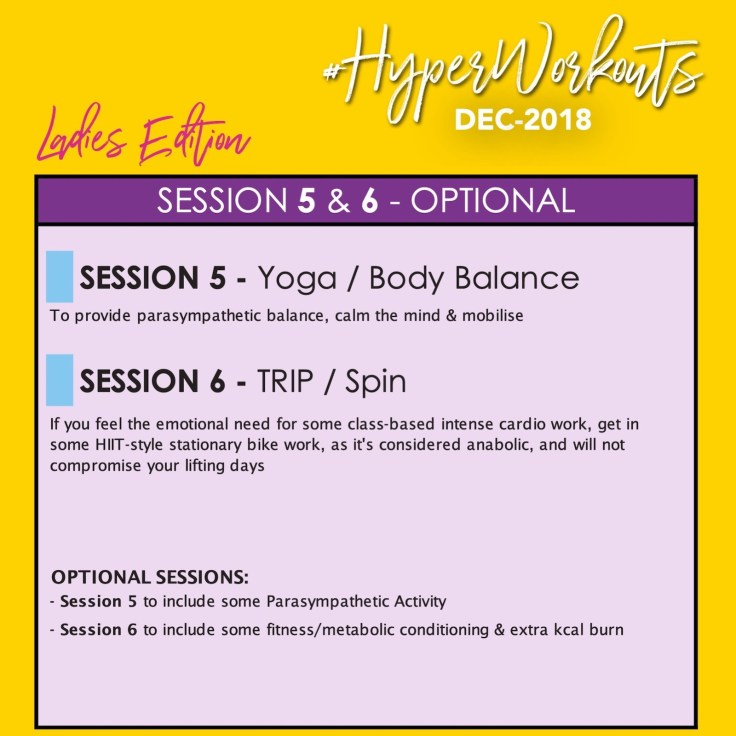 Ladies DEC-18 #HyperWorkouts Training Programme Yoga Spin