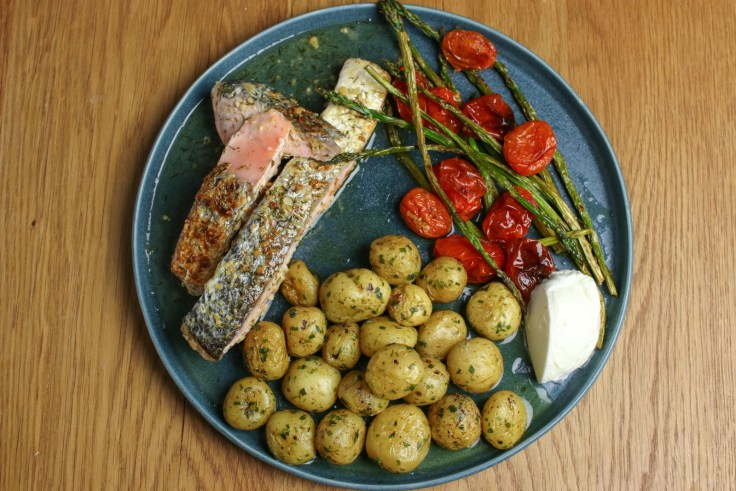 Pan-Fried Salmon, Buttery New Potatoes and Baked Asparagus & Cherry Tomatoes p4
