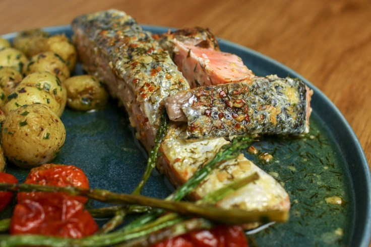 Pan-Fried Salmon, Buttery New Potatoes and Baked Asparagus & Cherry Tomatoes p3
