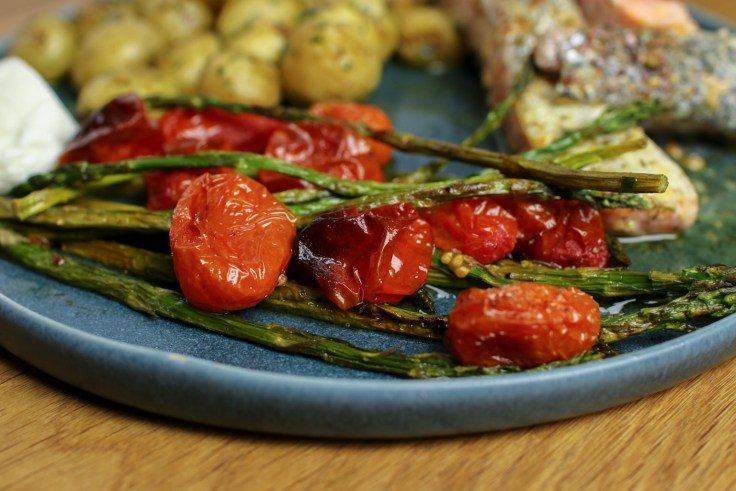 Pan-Fried Salmon, Buttery New Potatoes and Baked Asparagus & Cherry Tomatoes p2