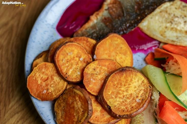 Pan Fried Sea Bass, Beetroot Purée, Sweet Potato Crisps & Pickled Veg p3