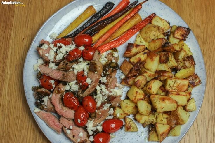 Minted Lamb, Feta & Tomatoes with Mini Roasties & Rainbow Carrots p5