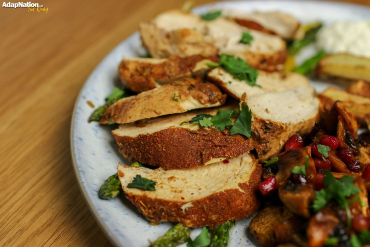 Moroccan Chicken, Baked Mushrooms & Chunky Chips p4