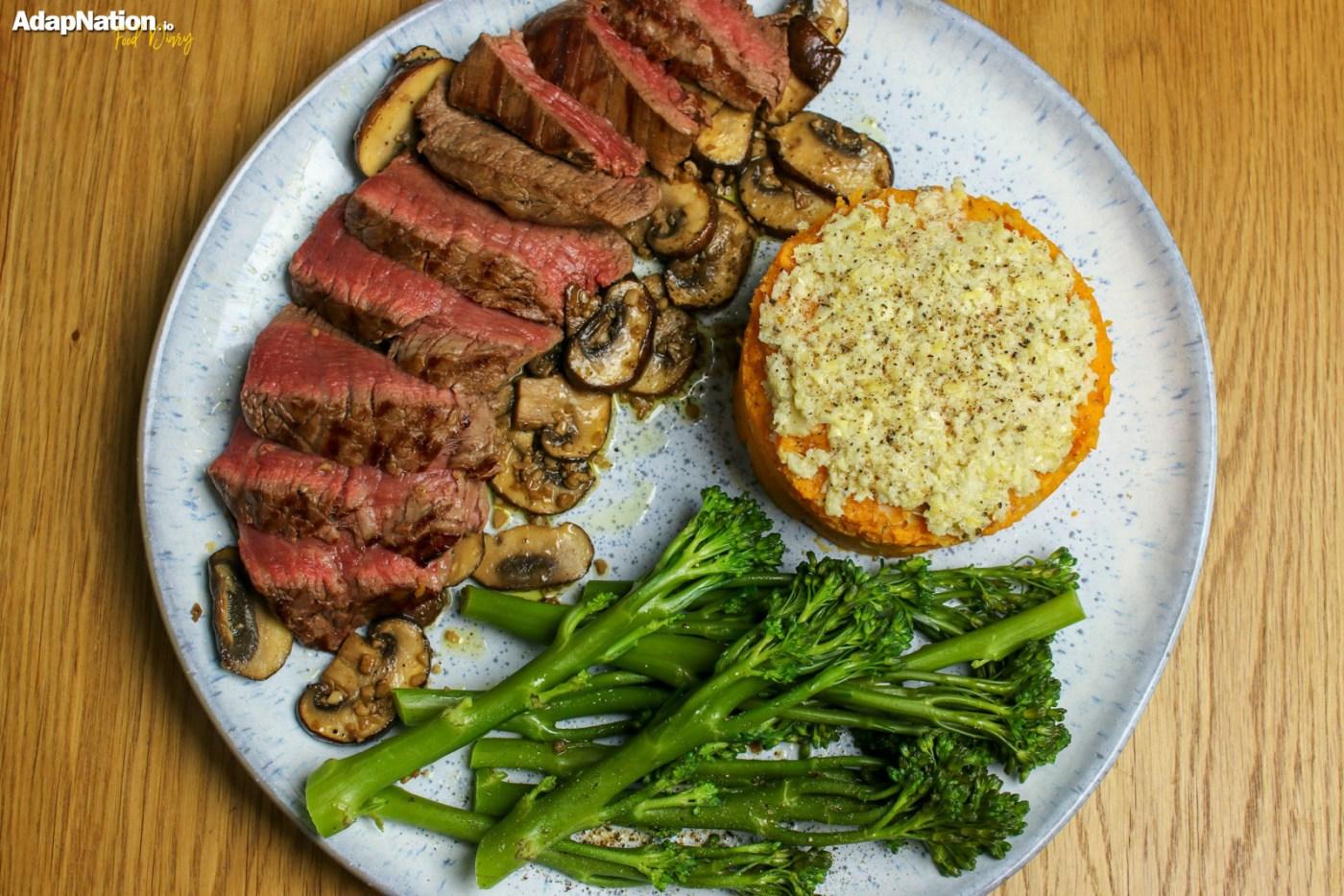 Fillet Steak, Artichoke & Sweet Potato Mash and Chestnut Mushrooms