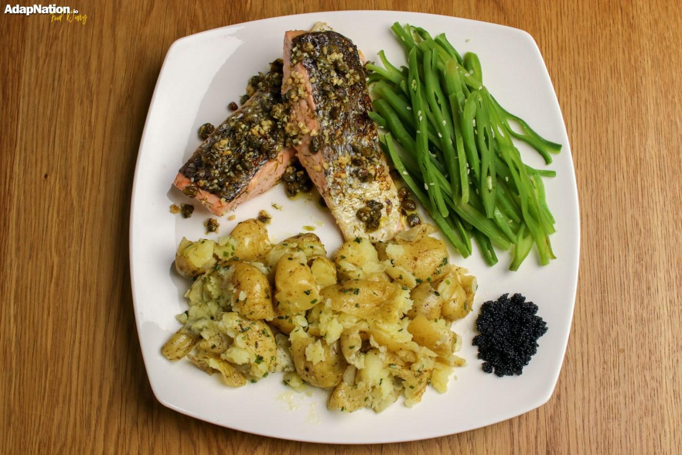 Caper, Dill & Lemon Salmon with Crushed Potatoes & Seaweed Caviar