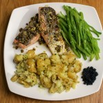 Capers, Dill & Lemon Salmon with Crushed Potatoes & Seaweed Caviar