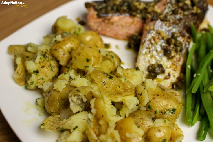Caper, Dill & Lemon Salmon with Crushed Potatoes & Seaweed Caviar p4