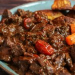 Rich Beef & Chicken Liver Stew with Crispy Roast Potatoes (for two)