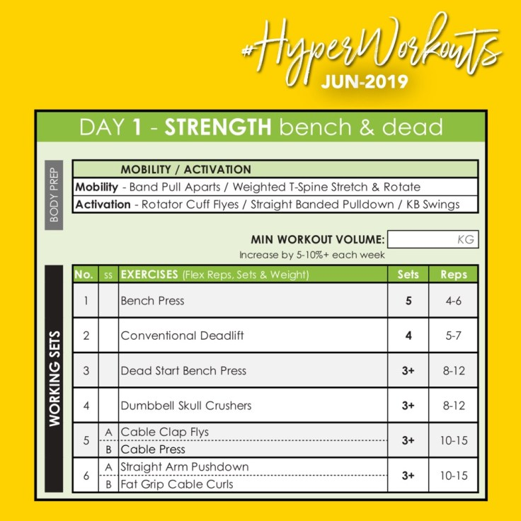 JUN-19 #HyperWorkouts - Day 1 - Weight Lifting Gym Workout Plan & Gym Program