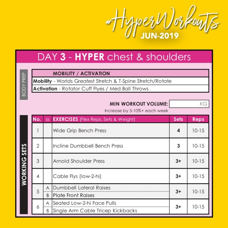 JUN-19 HyperWorkouts - Day 2 - Weight Lifting Gym Workout Plan & Gym Program
