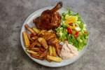 Lamb Shank, Chips & Salad