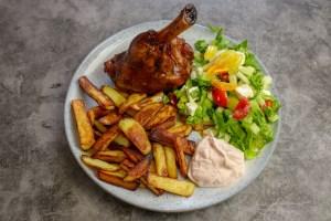 Lamb Shank, Home-Made Chips & Greek Salad