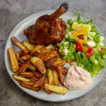 Lamb Shank, Home-Made Chips & Greek Salad