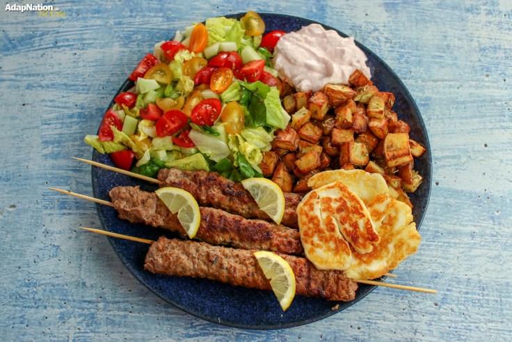 Lamb Adana Kebabs, Crispy Roasties, Halloumi & Salad p2