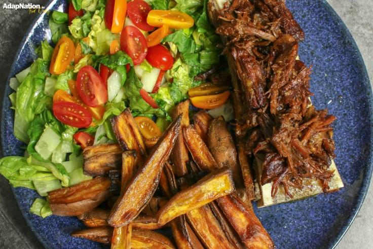 Beef Brisket & Bone Marrow, with Sweet Potato Wedges and Salad