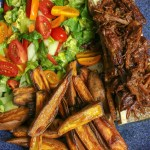 Beef Brisket & Bone Marrow, with Sweet Potato Wedges and Salad